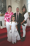 Mellisa, Brian. Jackie and Chloe Fay at the First Holy Communion in Walshestown...Photo NEWSFILE/Jenny Matthews.(Photo credit should read Jenny Matthews/NEWSFILE)....This Picture has been sent you under the condtions enclosed by:.Newsfile Ltd..The Studio,.Millmount Abbey,.Drogheda,.Co Meath..Ireland..Tel: +353(0)41-9871240.Fax: +353(0)41-9871260.GSM: +353(0)86-2500958.email: pictures@newsfile.ie.www.newsfile.ie.FTP: 193.120.102.198.