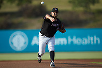 Kannapolis Intimidators starting pitcher Jhoan Quijada (45) delivers a pitch to the plate against the Lakewood BlueClaws at Kannapolis Intimidators Stadium on July 7, 2018 in Kannapolis, North Carolina. The Intimidators defeated the BlueClaws 4-3 in 10 innings.  (Brian Westerholt/Four Seam Images)