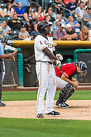 Jared Mitchell (13) of the Salt Lake Bees at bat against the Tacoma Rainiers in Pacific Coast League action at Smith's Ballpark on September 1, 2015 in Salt Lake City, Utah. The Bees defeated the Rainiers 10-1. (Stephen Smith/Four Seam Images)