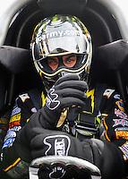 Jan. 17, 2012; Jupiter, FL, USA: NHRA top fuel dragster driver Tony Schumacher during testing at the PRO Winter Warmup at Palm Beach International Raceway. Mandatory Credit: Mark J. Rebilas-