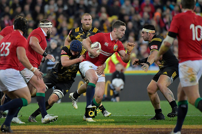 Lions&rsquo; George North in action during the New Zealand Lions Series - Hurricanes v British and Irish Lions at Westpac Stadium, Wellington, New Zealand on Tuesday 27 June 2017.<br /> Photo by Masanori Udagawa<br /> www.photowellington.photoshelter.com.