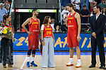 Spain's Pau Gasol talk with Juan Carlos Navarro during receive the congratulations for the player with more games with the national team friendly match for the preparation for Eurobasket 2017 between Spain and Venezuela at Madrid Arena in Madrid, Spain August 15, 2017. (ALTERPHOTOS/Borja B.Hojas)
