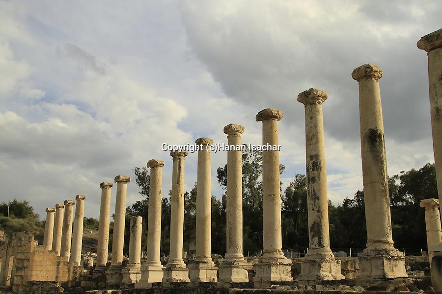 The colonnaded Silvanus street at the Roman-Byzantine city Scythopolis