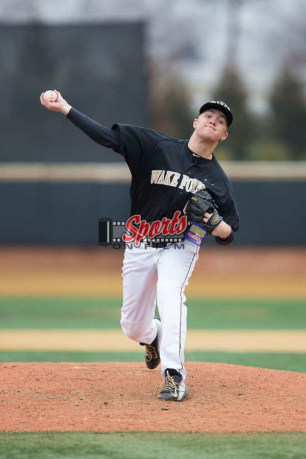 Wake Forest Demon Deacons relief pitcher Paul Kirkpatrick (42) in action against the Towson Tigers at Wake Forest Baseball Park on March 1, 2015 in Winston-Salem, North Carolina.  The Demon Deacons defeated the Tigers 15-8.  (Brian Westerholt/Sports On Film)