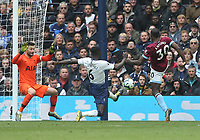 West Ham United's Michail Antonio scores his side's first goal  <br /> <br /> Photographer Rob Newell/CameraSport<br /> <br /> The Premier League - Tottenham Hotspur v West Ham United - Saturday 27th April 2019 - White Hart Lane - London<br /> <br /> World Copyright © 2019 CameraSport. All rights reserved. 43 Linden Ave. Countesthorpe. Leicester. England. LE8 5PG - Tel: +44 (0) 116 277 4147 - admin@camerasport.com - www.camerasport.com