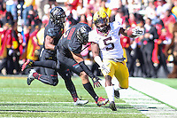 College Park, MD - October 15, 2016:Minnesota Golden Gophers wide receiver Melvin Holland Jr. (5) in action during game between Minnesota and Maryland at  Capital One Field at Maryland Stadium in College Park, MD.  (Photo by Elliott Brown/Media Images International)