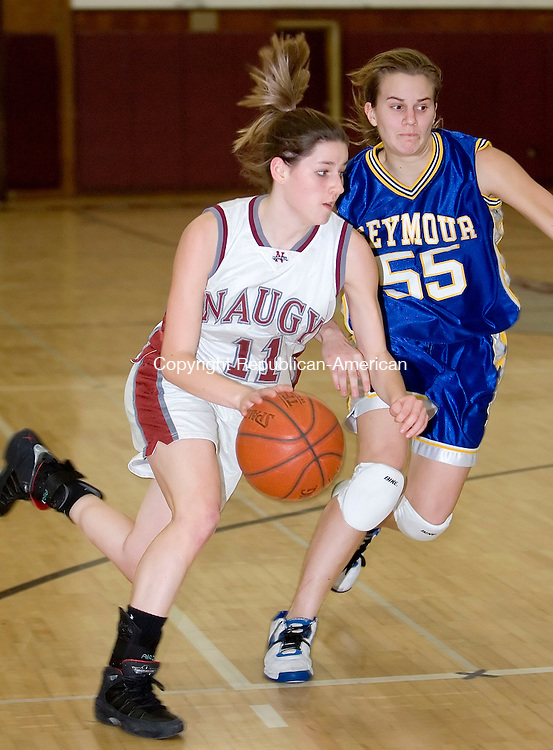 NAUGATUCK, CT- 02 JAN 06- 010207JT19- <br /> Naugatuck's Julie Piroscafo dribbles past Seymour's Jess Biercevicz during Tuesday's game at Naugatuck. Seymour won 41-44.<br /> Josalee Thrift Republican-American