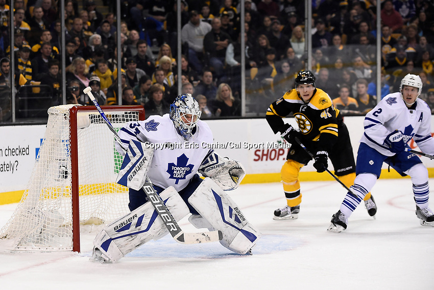 Saturday, November 21, 2015: Toronto Maple Leafs goalie James Reimer (34) watches an airborne puck during the National Hockey League game between the Toronto Maple Leafs and the Boston Bruins held at TD Garden, in Boston, Massachusetts. The Bruins defeat the Maple Leafs 2-0 in regulation time. Eric Canha/CSM