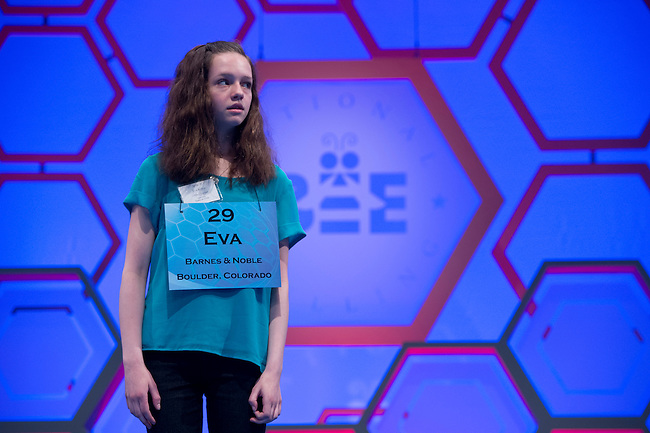 Speller 29 Eva Kitlen competes in the preliminary rounds of the Scripps National Spelling Bee at the Gaylord National Resort and Convention Center in National Habor, Md., on Wednesday,  May 30, 2012. Photo by Bill Clark