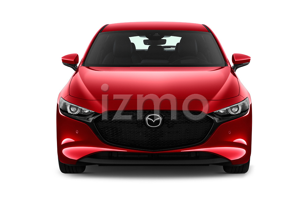 Car photography straight front view of a 2019 Mazda Mazda3 Skycruise 5 Door Hatchback