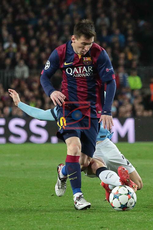 UEFA Champions League 2014/2015. <br /> Round of 16, Second leg.<br /> FC Barcelona vs Manchester City: 1-0.<br /> Lionel Messi vs David Silva.