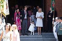 Mariage du Prince Ernst junior de Hanovre et de Ekaterina Malysheva &agrave; l'&eacute;glise Markkirche &agrave; Hanovre.<br /> Allemagne, Hanovre, 8 juillet 2017.<br /> Wedding of Prince Ernst Junior of Hanover and Ekaterina Malysheva at the Markkirche church in Hanover.<br /> Germany, Hanover, 8 july 2017<br /> Pic :  Prince Christian of Hanover &amp; his mother Chantal Hochuli &amp; Alessandra de Osma