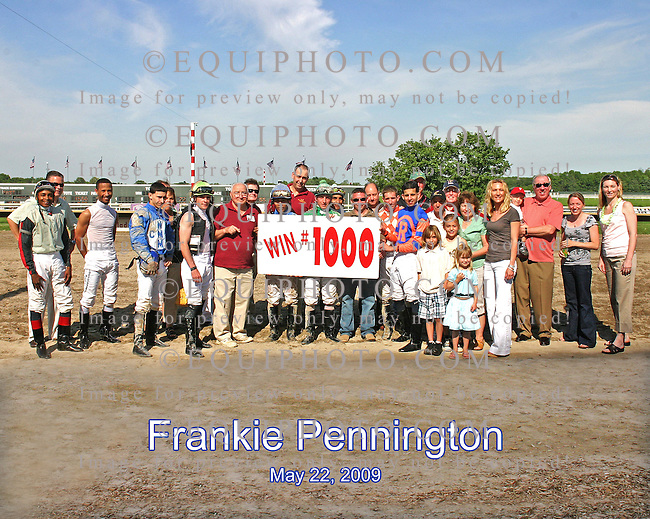 Jockey Colony at Philadelphia Park congratulates Jockey Frankie Pennington on winning 1,000 races..  Photo By EquiPhoto