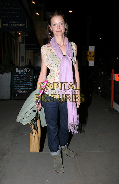 ABBY EASTWOOD.Kiss It Better - Instyle campaign launch party.Space NK, Kings Road.08 March 2004.full length, full-length, purple scarf, denim jeans, ugg boots, floaty top.www.capitalpictures.com.sales@capitalpictures.com.© Capital Pictures.
