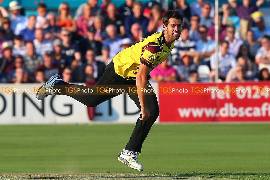 Tim Groenewald in bowling action for Somerset during Essex Eagles vs Somerset, NatWest T20 Blast Cricket at The Cloudfm County Ground on 13th July 2017