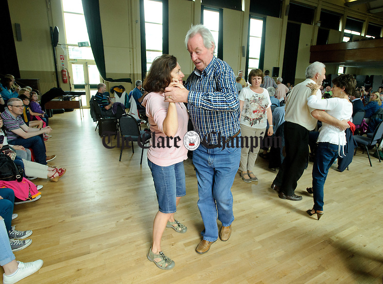 Set dancers step it out at the Frank Custy session on Thursday at the Holy Family National School during Fleadh Cheoil na hEireann in Ennis. Photograph by John Kelly.