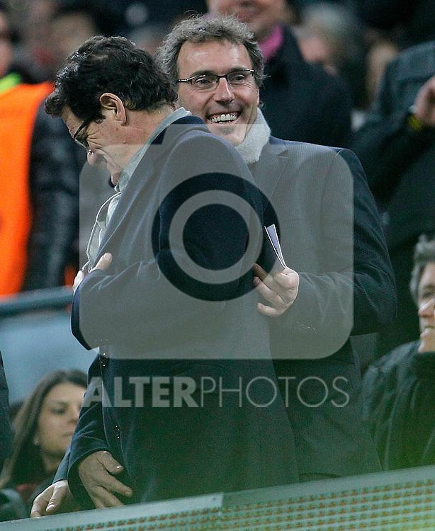 France's coach Laurent Blanc (r) and Endgland's coach fabio Capello during UEFA Champions League match.March 8,2011. (ALTERPHOTOS/Acero)