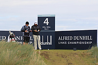 Shane Lowry (IRL) on the 4th tee during Round 2 of the Alfred Dunhill Links Championship 2019 at Kingbarns Golf CLub, Fife, Scotland. 27/09/2019.<br /> Picture Thos Caffrey / Golffile.ie<br /> <br /> All photo usage must carry mandatory copyright credit (© Golffile | Thos Caffrey)