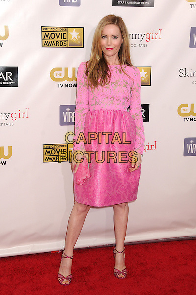 Leslie Mann.18th Annual Critics' Choice Movie Awards - Arrivals held at Barker Hangar, Santa Monica, California, USA, .10th January 2013 .full length pink gold print dress top long sleeve skirt clutch bag strappy sandals lace cut out shoes .CAP/ADM/BP.©Byron Purvis/AdMedia/Capital Pictures.