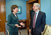 United States Senator Susan Collins (Republican of Maine), left, meets Judge Merrick Garland, chief justice for the US Court of Appeals for the District of Columbia Circuit, right, who is US President Barack Obama's selection to replace the late Associate Justice Antonin Scalia on the US Supreme Court, left, as the Judge arrives for a photo op on Capitol Hill in Washington, DC on Tuesday, March 29, 2016.  Kirk is the first GOP Senator to meet with Garland.<br /> Credit: Ron Sachs / CNP
