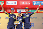 Orica-Scott on the podium at the end of Stage 10 of the 2017 La Vuelta, running 164.8km from Caravaca A&ntilde;o Jubilar 2017 to ElPozo Alimentaci&oacute;n, Spain. 29th August 2017.<br /> Picture: Unipublic/&copy;photogomezsport | Cyclefile<br /> <br /> <br /> All photos usage must carry mandatory copyright credit (&copy; Cyclefile | Unipublic/&copy;photogomezsport)