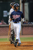 Elizabethton Twins center fielder Byron Buxton #41 reacts after striking out during a game against the Greenville Astros at Joe O'Brien Field on August 21, 2012 in Elizabethton, Tennessee. The Twins  defeated the Astros 7-5 (Tony Farlow/Four Seam Images).