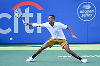 Washington, DC - August 4, 2019: Nick Kyrgios (AUS) stretches out to for a ball hit by Daniil Medvedev (RUS) NOT PICTURED during the Men's finals of the Citi Open at the Rock Creek Tennis Center, in Washington D.C. (Photo by Philip Peters/Media Images International)