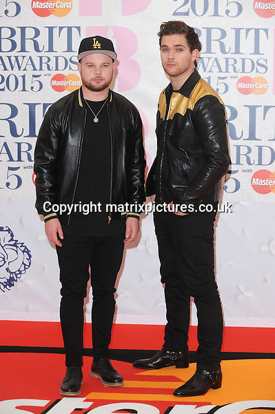 NON EXCLUSIVE PICTURE: PAUL TREADWAY / MATRIXPICTURES.CO.UK<br /> PLEASE CREDIT ALL USES<br /> <br /> WORLD RIGHTS<br /> <br /> British rock duo Royal Blood attending the BRIT Awards 2015 at the O2 Arena, in London.<br /> <br /> FEBRUARY 25th 2015<br /> <br /> REF: PTY 15627