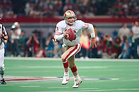 NEW ORLEANS, LA - Quarterback Joe Montana of the San Francisco 49ers in action during Super Bowl XXIV against the Denver Broncos at the Superdome in New Orleans, Louisiana on January 28, 1990. Photo by Brad Mangin.