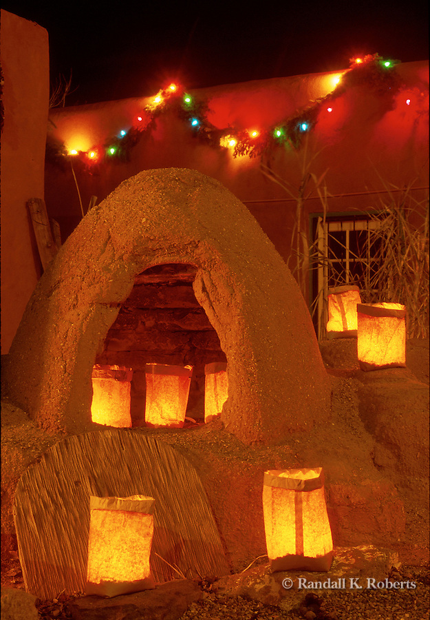 Luminarias on horno, Christmas eve, Old Town Albuquerque, NM