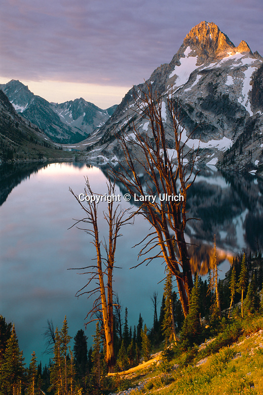 Sawtooth Lake and Mt. Regan at sunrise<br />