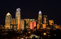 Skyline photography of the Charlotte NC downtown skyline. Photo, taken from the south side of Charlotte, is part on a regularly updated collection of Charlotte skyline imagery. This photo was taken in December 2019. Image shows the Duke Energy headquarters tower  and the Bank of America tower (center) as well as other key structures in the Charlotte NC skyline.