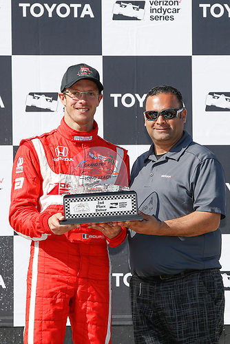2017 Verizon IndyCar Series<br /> Toyota Grand Prix of Long Beach<br /> Streets of Long Beach, CA USA<br /> Sunday 9 April 2017<br /> Sebastien Bourdais and Steve Williams of Verizon<br /> World Copyright: Michael L. Levitt<br /> LAT Images