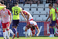 Tom Parkes of Exeter City catches Chris Stokes of Stevenage in the penalty area which caused a long delay during Stevenage vs Exeter City, Sky Bet EFL League 2 Football at the Lamex Stadium on 10th August 2019