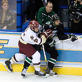 Greg Greek, Ben Smith (Boston College - Avon, CT), Zach Jones (University of North Dakota - Lisle, IL) - The Boston College Eagles defeated the University of North Dakota Fighting Sioux 6-4 in their 2007 Frozen Four semi-final on Thursday, April 5, 2007, at the Scottrade Center in St. Louis, Missouri.