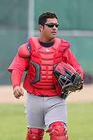 Boston Red Sox catcher Adelberto Ibarra #25 during an Instructional League game against the Baltimore Orioles at Buck O'Neil Complex in Sarasota, Florida;  October 6, 2011.  (Mike Janes/Four Seam Images)