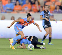 Carli Lloyd (10) of the Houston Dash races for the goal in the first half against the Chicago Red Stars on Saturday, April 16, 2016 at BBVA Compass Stadium in Houston Texas.