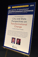 Yale SOM Education Leadership Conference. Friday Morning Keynote Speakers, Providence, RI Mayor Angel Taveras and Louisiana State Superintendent John White. 5 April 2013.