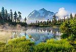 Mount Baker-Snoqualmie National Forest, WA: Morning light with steam rising off of Picture Lake and Mount Shuksan in the distance