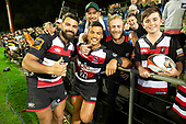 Riley Hohepa and Liam Daniela with fans after the Mitre 10 Cup rugby game between Counties Manukau Steelers and Taranaki Bulls, played at Navigation Homes Stadium, Pukekohe on Saturday August 10th 2019. Taranaki won the game 34 - 29 after leading 29 - 19 at halftime.<br /> Photo by Richard Spranger.