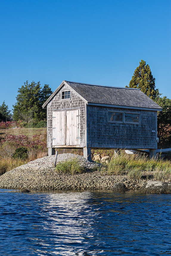 Boathouse on salt pond, Chilmark, Martha's Vineyard, Massachusetts, USA