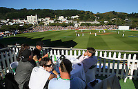 A general view of the Basin Reserve during day one of the 3rd test between the New Zealand Black Caps and India at Allied Prime Basin Reserve, Wellington, New Zealand on Friday, 3 April 2009. Photo: Dave Lintott / lintottphoto.co.nz