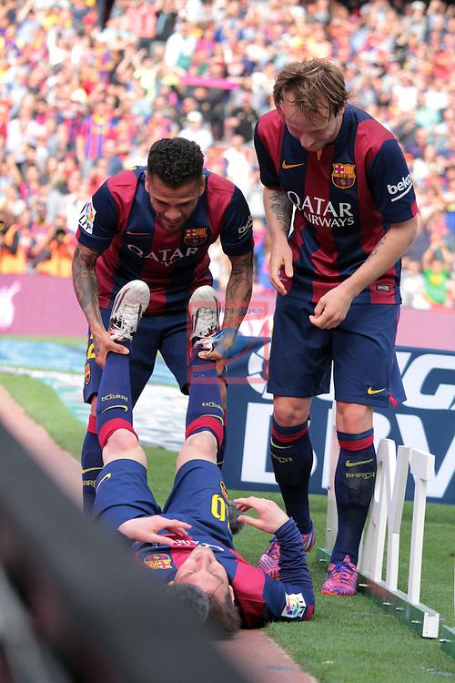 League BBVA 2014/2015. Game: 32.<br /> FC Barcelona vs Valencia CF: 2-0.<br /> Lionel Messi, Dani Alves &amp; Ivan Rakitic.