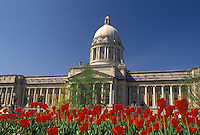 AJ4186, Frankfort, State Capitol, State House, Kentucky, Red tulips adorn the grounds of the State Capitol Building in the spring in the capital city of Frankfort in the state of Kentucky.
