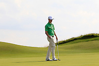 Rowan Lester (IRL) on the 14th green during the Afternoon Singles between Ireland and Wales at the Home Internationals at Royal Portrush Golf Club on Thursday 13th August 2015.<br /> Picture:  Thos Caffrey / www.golffile.ie