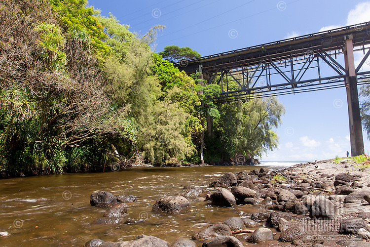 Large bridge over Kolekole Stream at Kolekole Beach Park in Honomu, Big Island.
