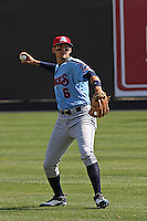 Ryan Flaherty #6 of the Tennessee Smokies throwing in the outfield before a game against the Carolina Mudcats on April 20, 2010 in Zebulon, NC.