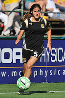 19 July 2009: Tina DiMartino of the FC Gold Pride brings the ball out of the corner during the game at Buck Shaw Stadium in Santa Clara, California.  The Boston Breakers defeated the FC Gold Pride, 1-0.