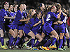 Islip teammates celebrate after their win over Garden City in the varsity girls' soccer Class A Long Island Championship at Adelphi University on Saturday, November 7, 2015. Islip won on kicks to advance to the state semifinals.<br /> <br /> James Escher
