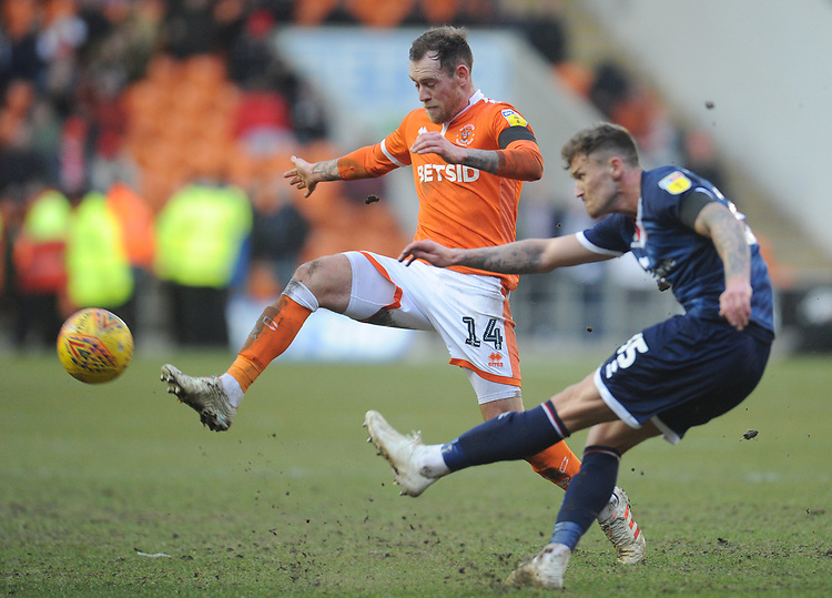 Blackpool's Harry Pritchard vies for possession with Walsall's Dan Scarr<br /> <br /> Photographer Kevin Barnes/CameraSport<br /> <br /> The EFL Sky Bet League One - Blackpool v Walsall - Saturday 9th February 2019 - Bloomfield Road - Blackpool<br /> <br /> World Copyright &copy; 2019 CameraSport. All rights reserved. 43 Linden Ave. Countesthorpe. Leicester. England. LE8 5PG - Tel: +44 (0) 116 277 4147 - admin@camerasport.com - www.camerasport.com